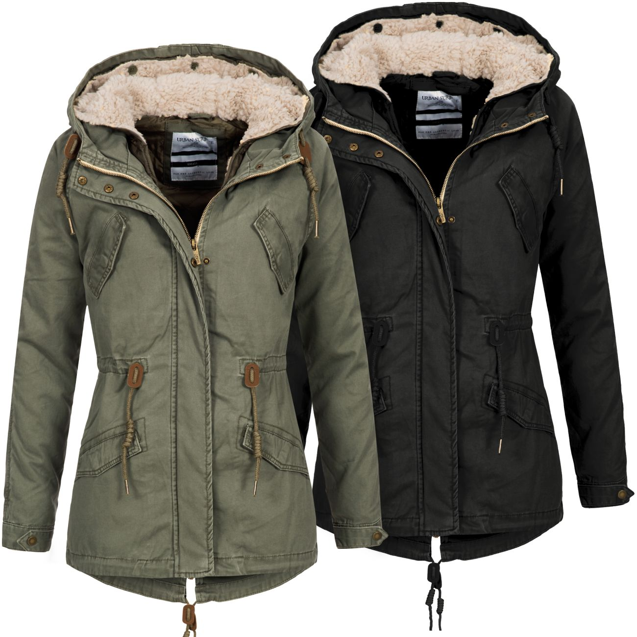 urban surface damen 2 in 1 jacke lus 090 damenjacke herbst winter parka mantel ebay. Black Bedroom Furniture Sets. Home Design Ideas