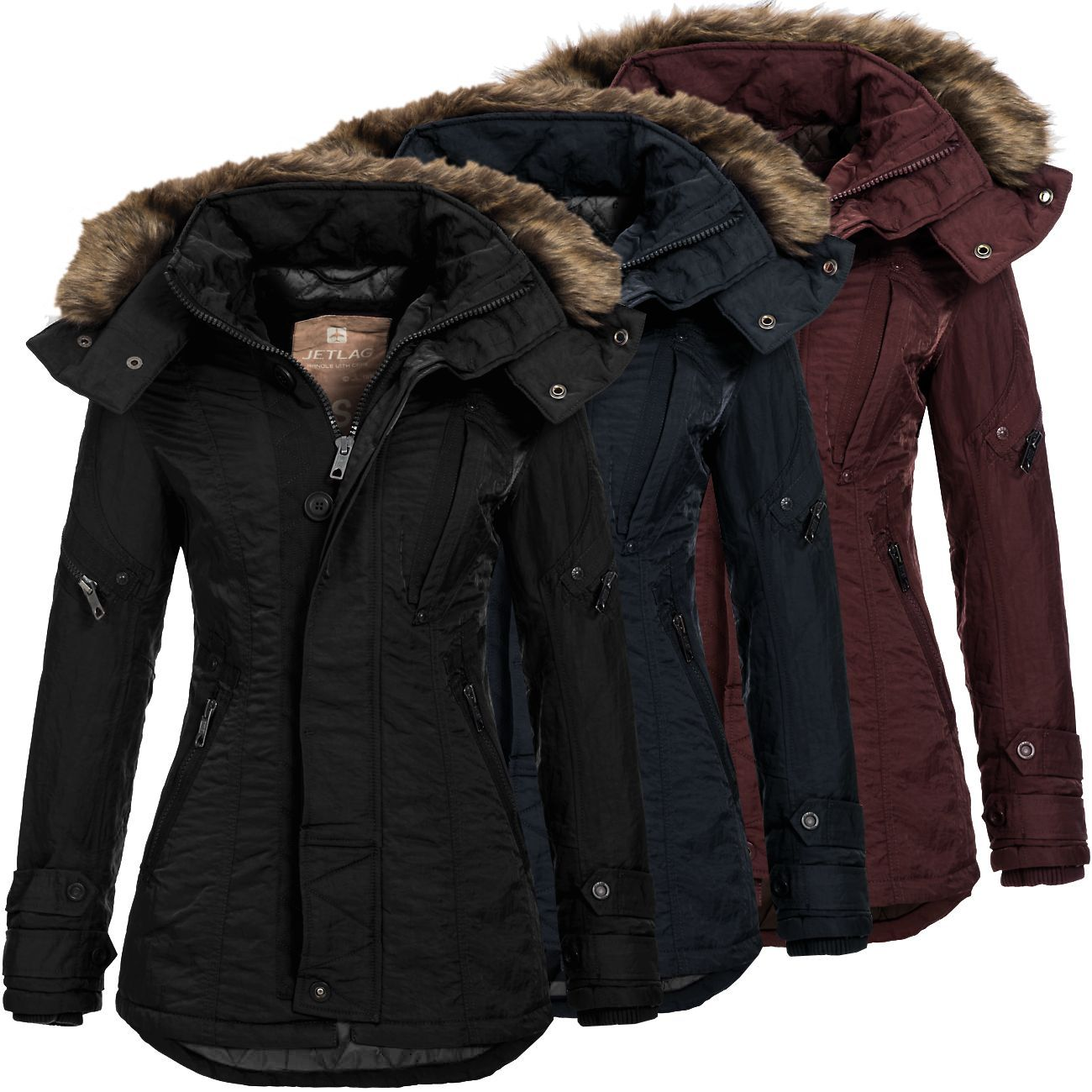 jet lag damen winterparka sw 61b damenjacke jacke parka fellkapuze wintermantel ebay. Black Bedroom Furniture Sets. Home Design Ideas