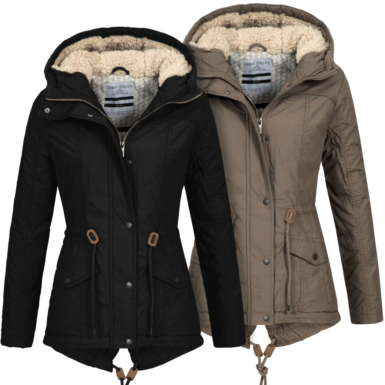 urban surface damen jacke lus 091 damenjacke herbst winter parka mantel kapuze ebay. Black Bedroom Furniture Sets. Home Design Ideas