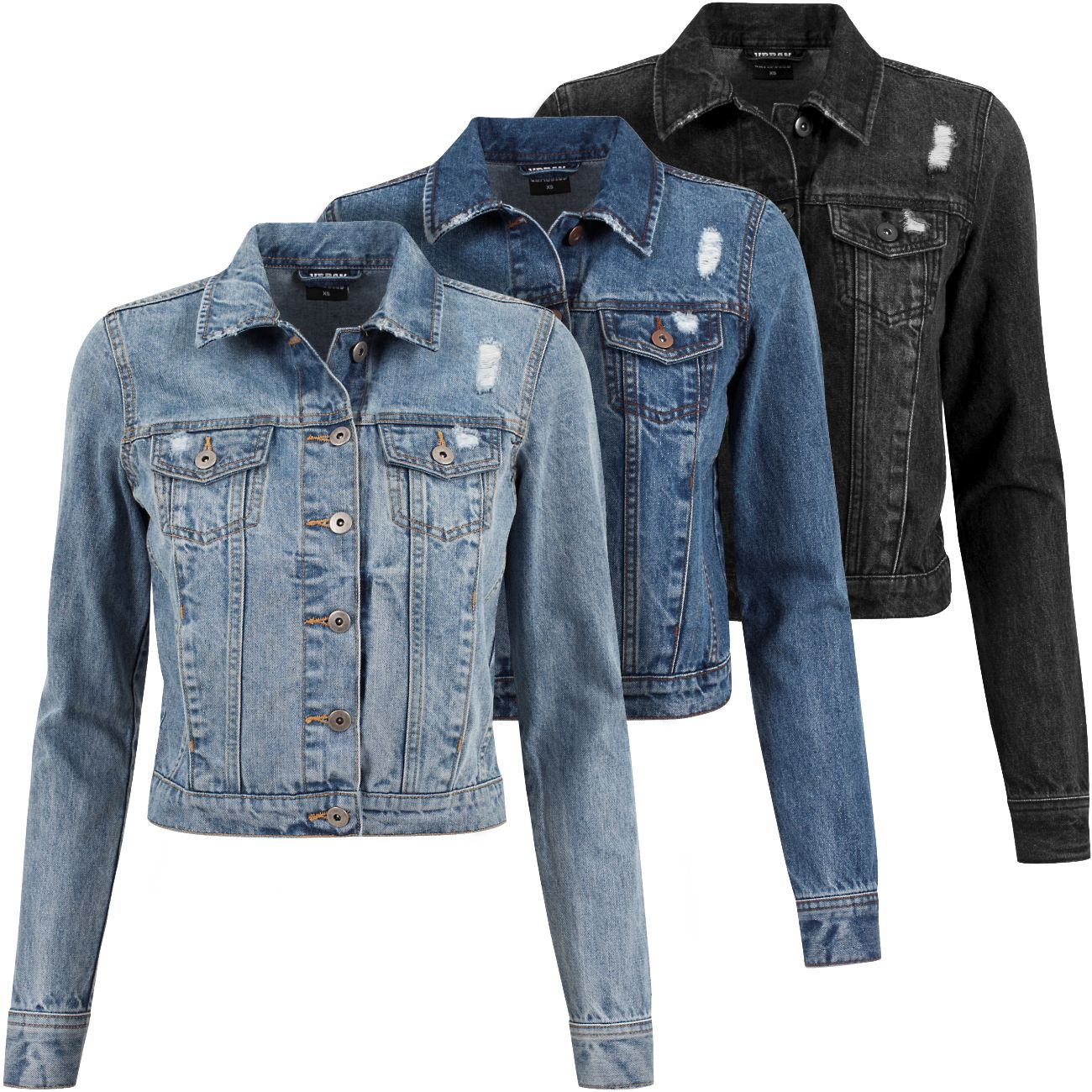 urban classics damen jeans jacke tb1542 jeansjacke sommer freizeit destroyed ebay. Black Bedroom Furniture Sets. Home Design Ideas