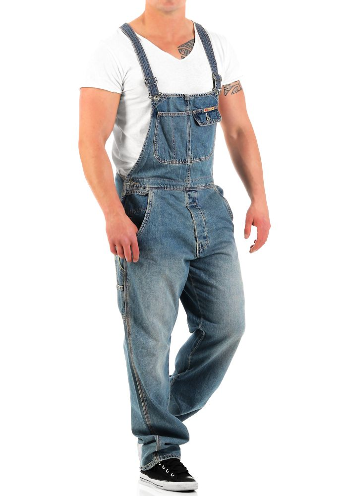 jet lag herren latz jeans overall denim long herrenhose latzhose latzjeans hose ebay. Black Bedroom Furniture Sets. Home Design Ideas