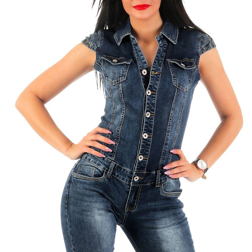 damen kurzarm jeans overall sj131 damenjeans anzug jeansoverall einteiler kurz ebay. Black Bedroom Furniture Sets. Home Design Ideas