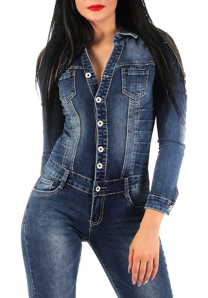 Damen langarm Jeans Overall SJ128 Damenjeans Anzug ...