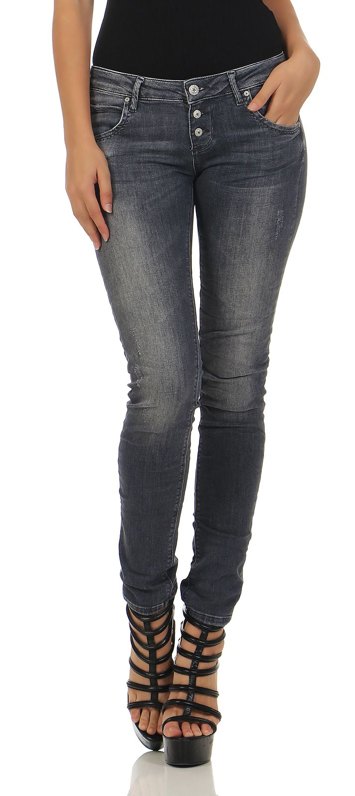 37b24590520b M.O.D Damen Jeans Ulla Slim mallorca grey skinny destroyed Pants ...