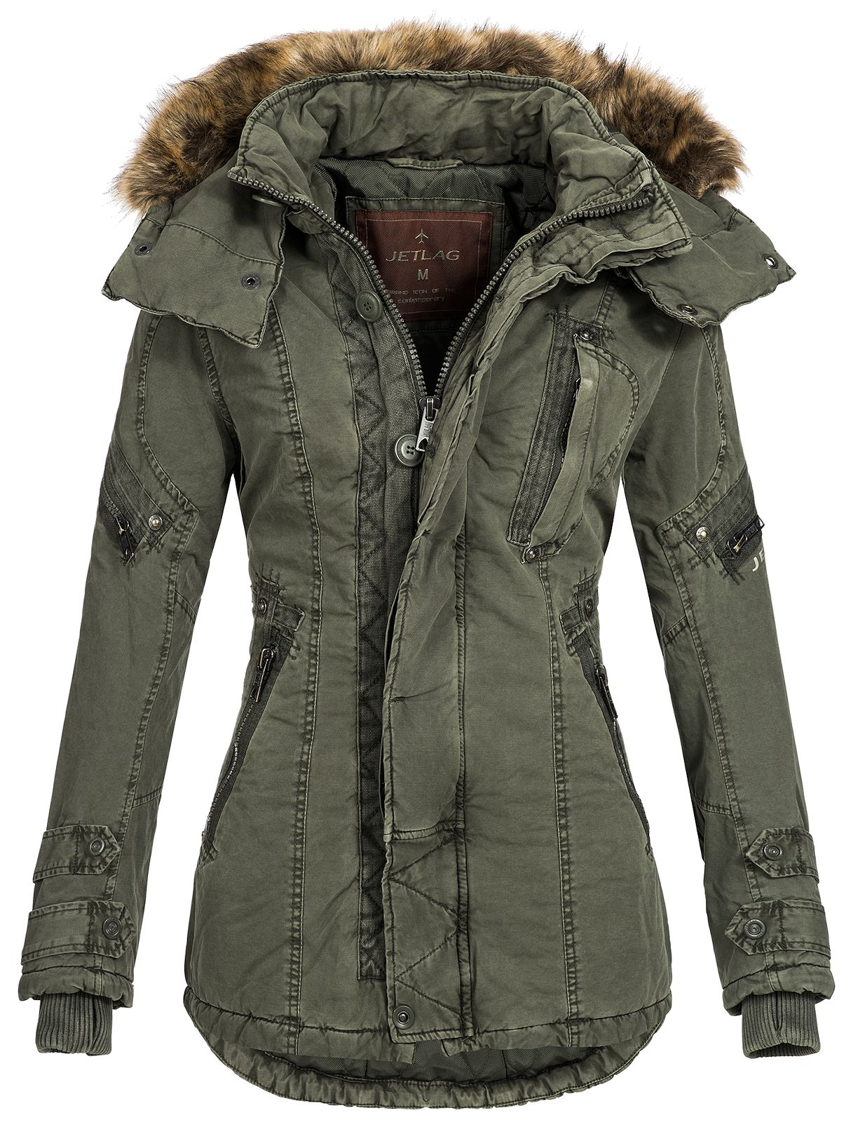 jet lag damen winterjacke parka sw 61c fellkapuze mantel. Black Bedroom Furniture Sets. Home Design Ideas