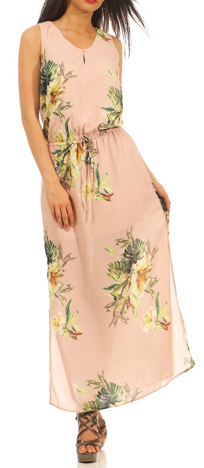 Only Damen Maxi Kleid Carla bodenlang Dress Sommer V-Neck Hochzeit ...