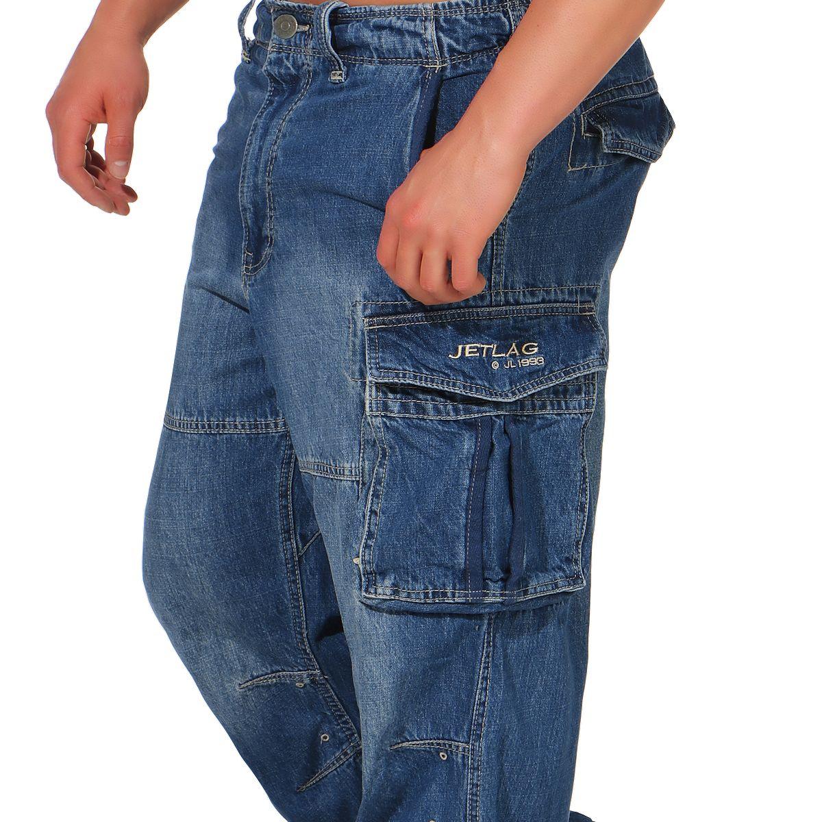 JET LAG HERREN Cargohose Hose lang Jeanshose Cargojeans