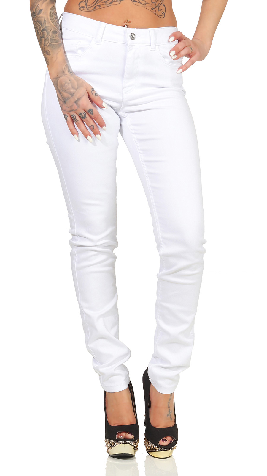 Vero Moda Damen Jeans Hose Skinny Damenjeans Röhrenjeans Jeanshose Seven weiß