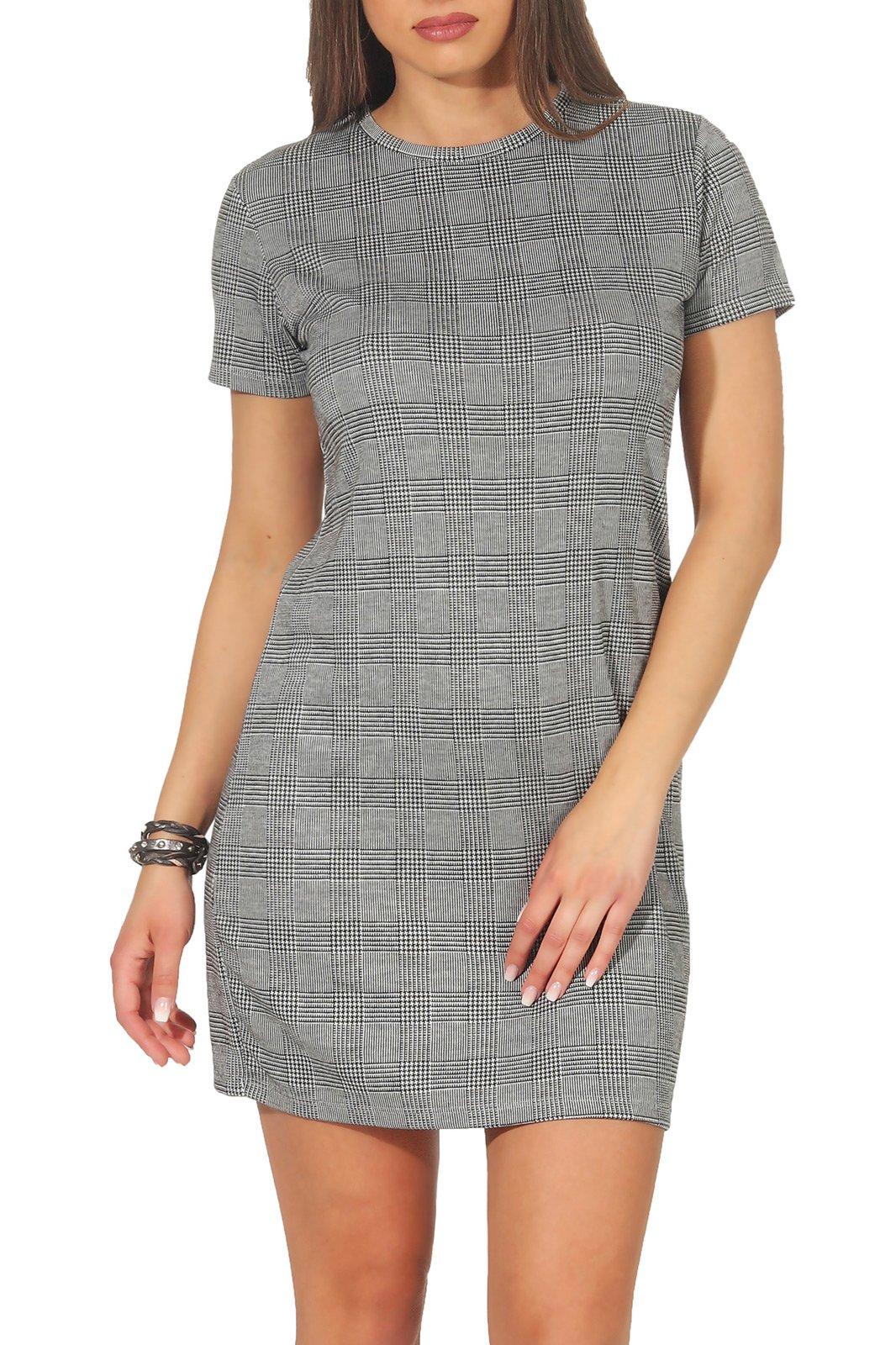 Damen Kleid Shirtkleid Minikleid Sommer Longshirt kariert Stitch ...