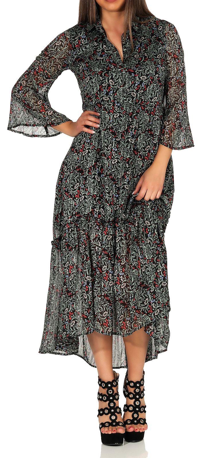 Vero Moda Damen Kleid Maxikleid Sommerkleid Strandkleid Bohokleid 3 4 Arm Liva Ebay
