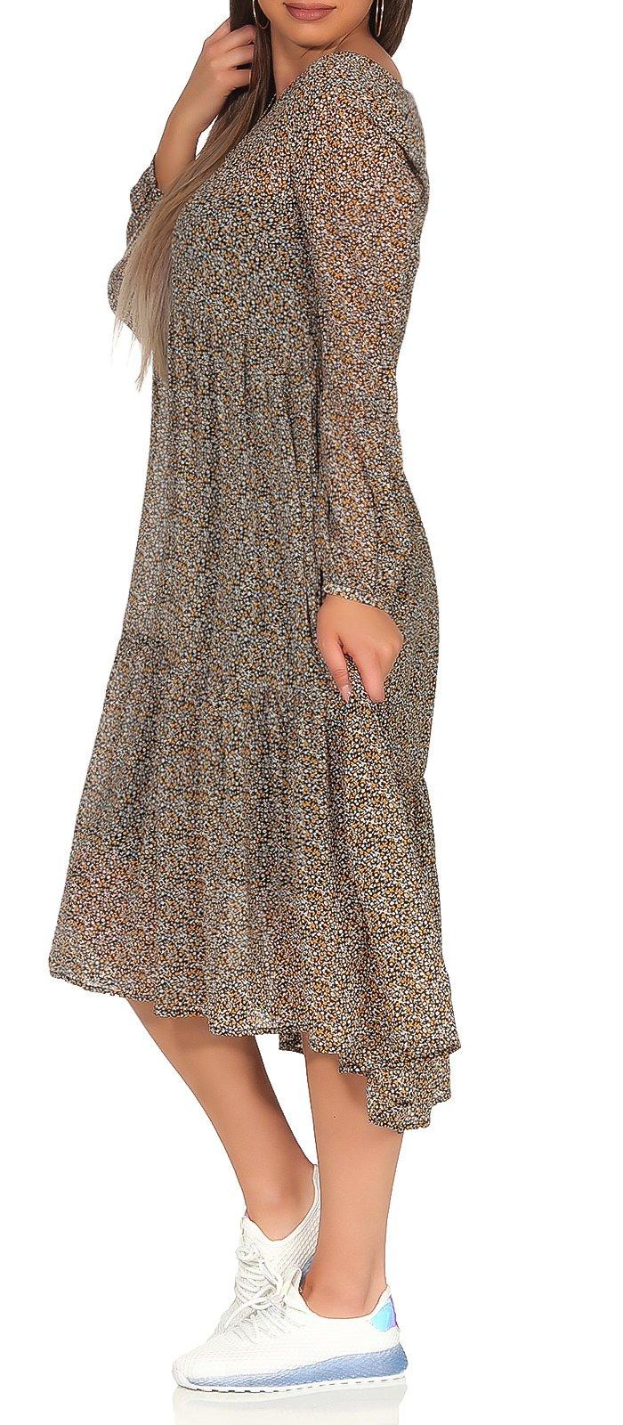 Details zu Vero Moda Damen Kleid Sommerkleid Strandkleid Bohokleid geblümt  langarm Naira