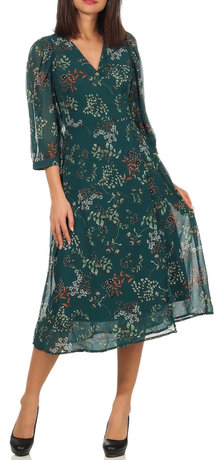 Details zu Damen Kleid Damenkleid Midikleid geblümt Abendkleid 11/11 Ärmel  Vero Moda Julie