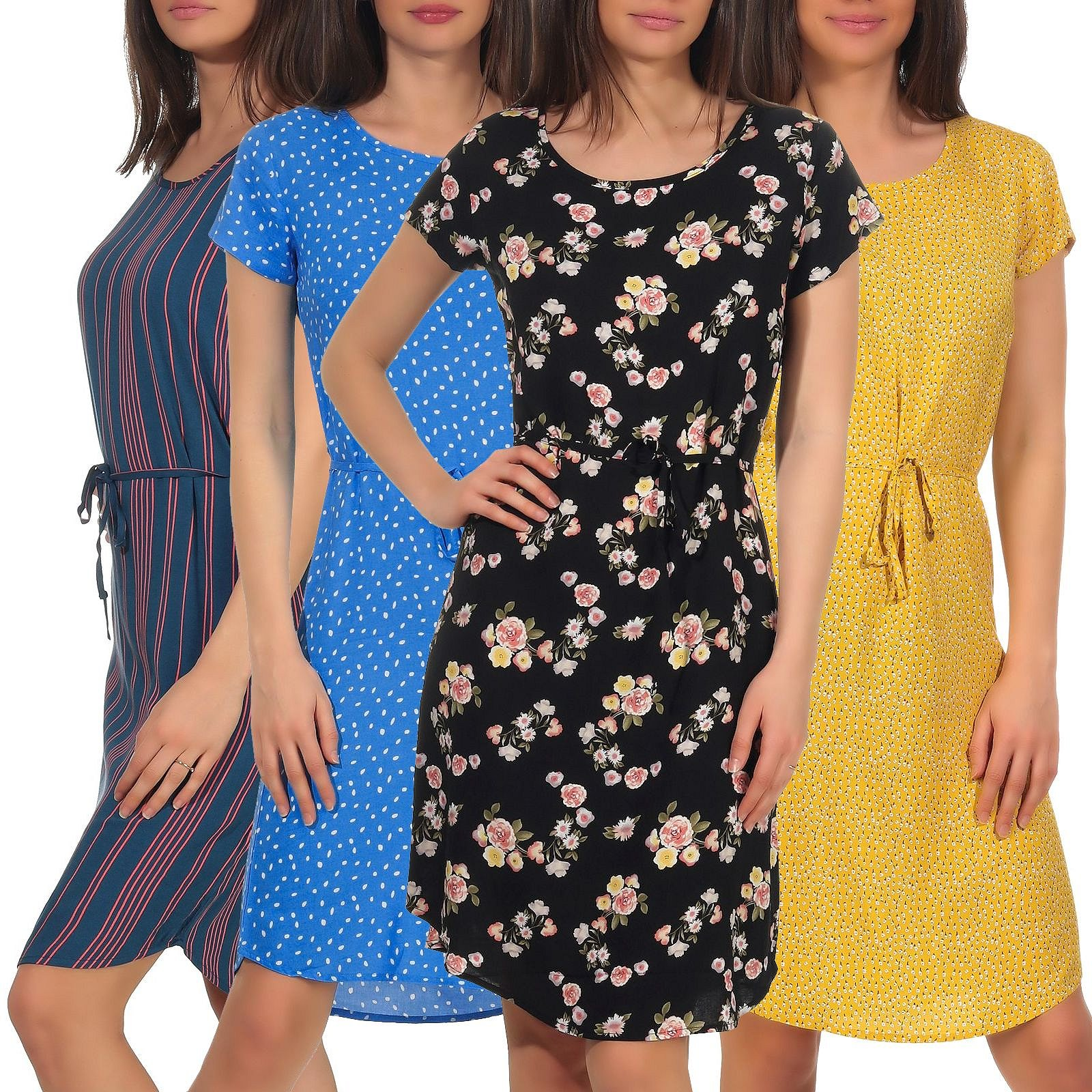 details zu damen kleid sommerkleid damenkleid knielang 100 viskose fresh  made lfm-158