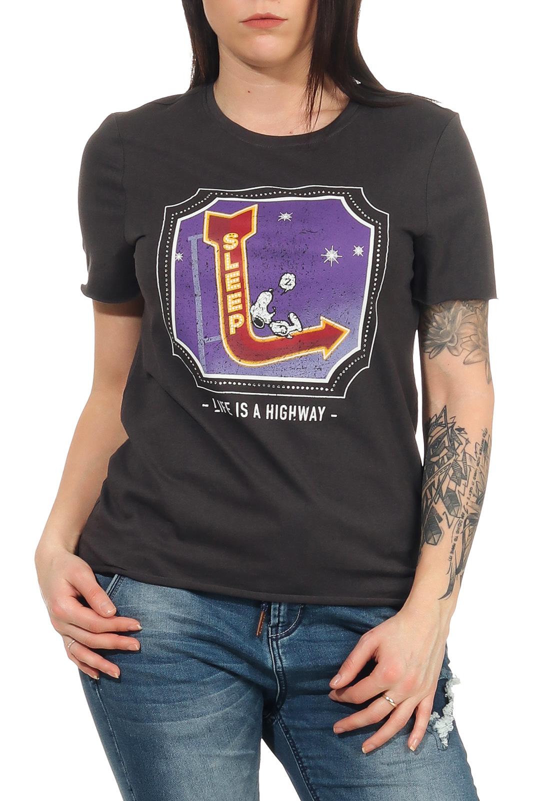 Only Damen T-Shirt kurzarm Shirt Rundhals Damenshirt Top Oberteil Rolling Stones