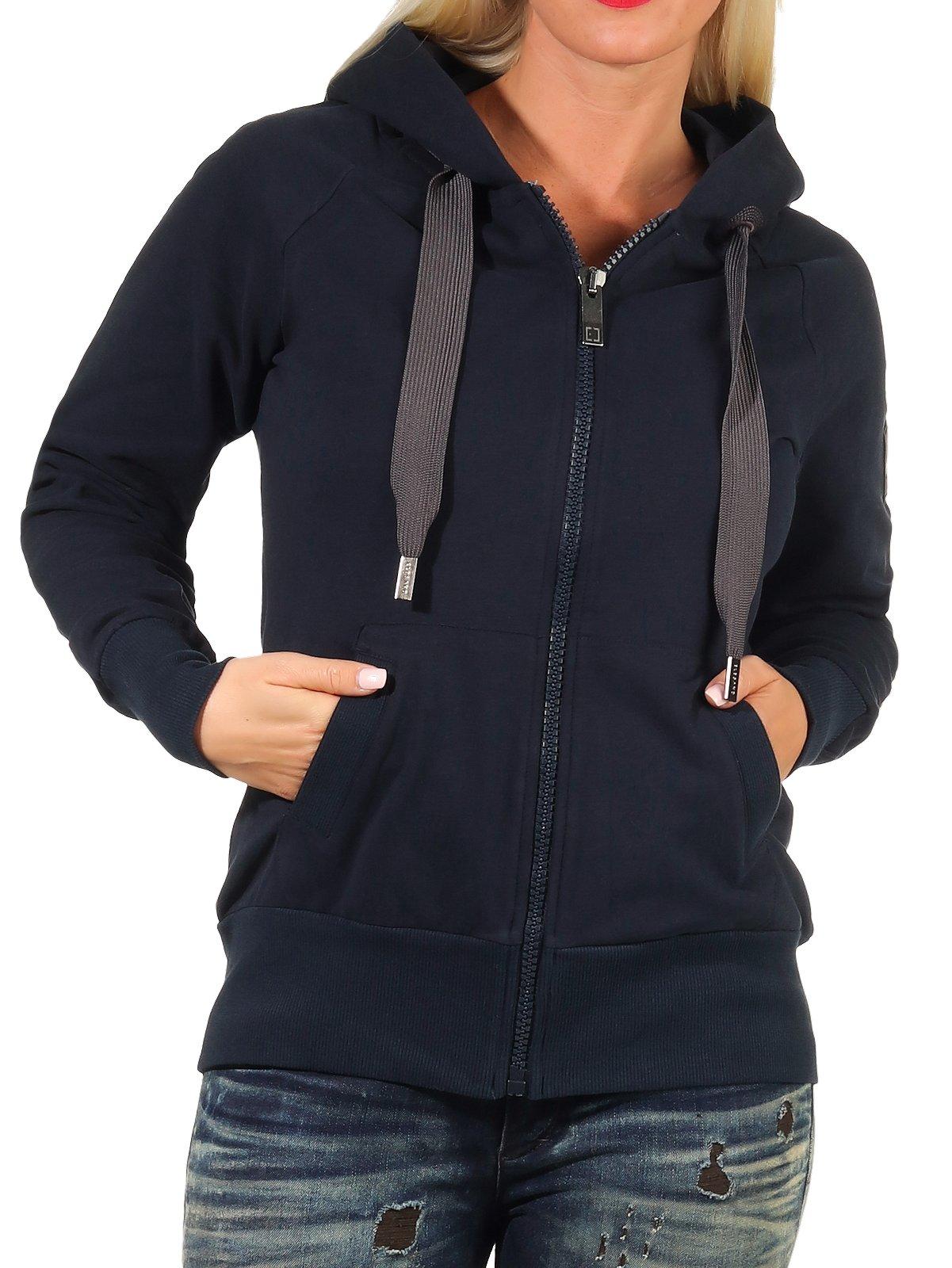 Damen Sweatjacke Jacke Damenjacke Zip Hoodie Sweatshirt Elbsand Keki
