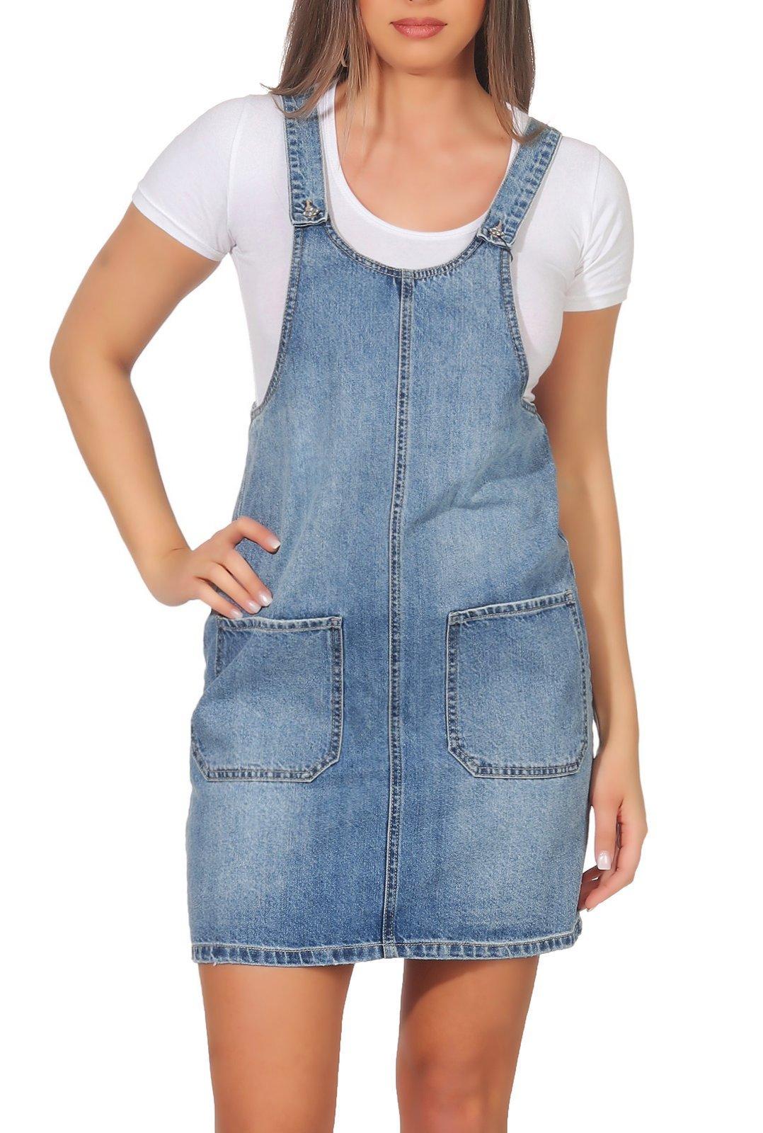 Vero Moda Damen Jeans Kleid Kali Pinafort   Röcke/ Kleider ...