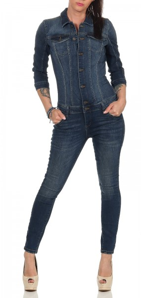 Only Damen Jeans Jumpsuit Julia dark blue denim