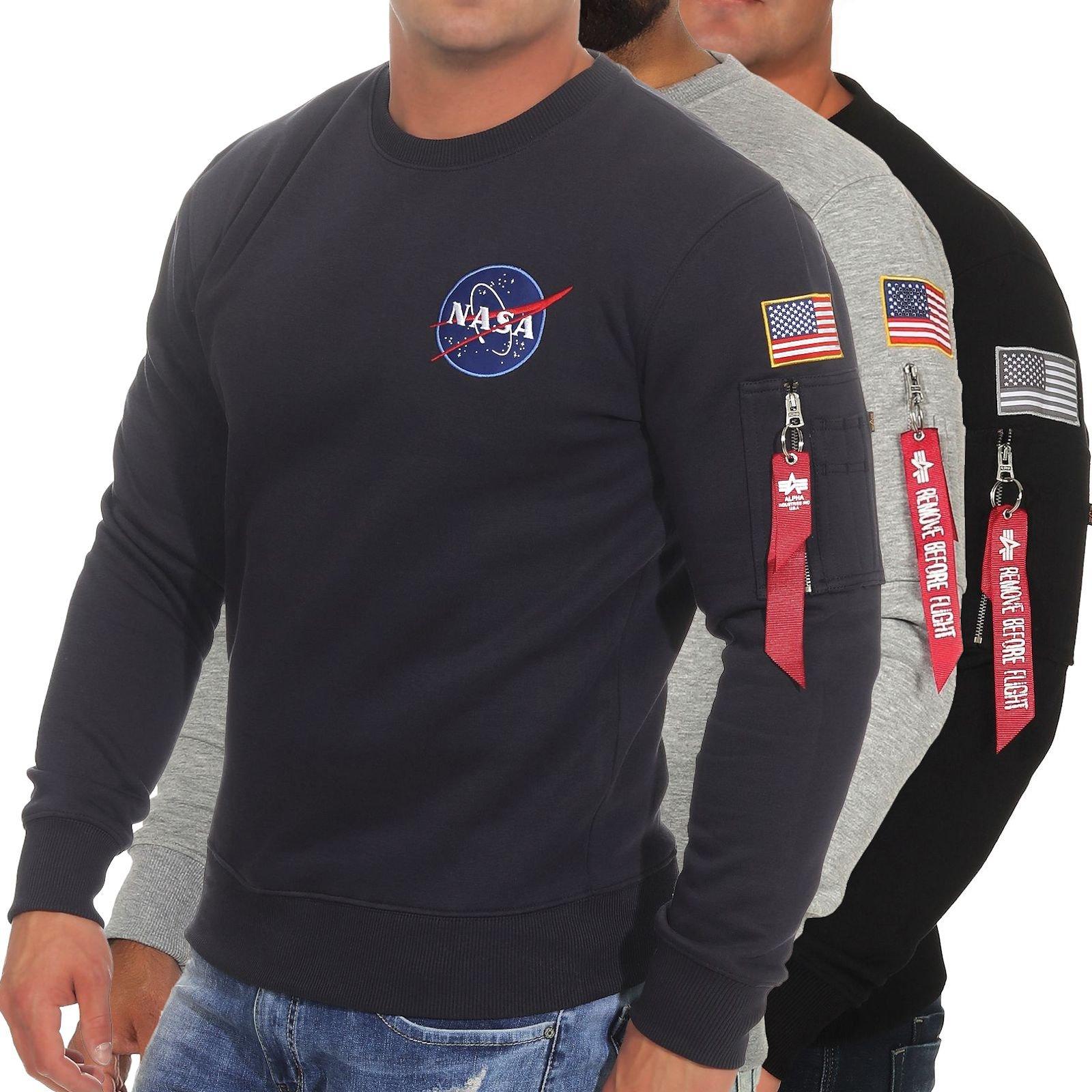 """Alpha Industries – Sweatshirt """"Space Shuttle"""" in Schwarz mit Rundhalsausschnitt"""